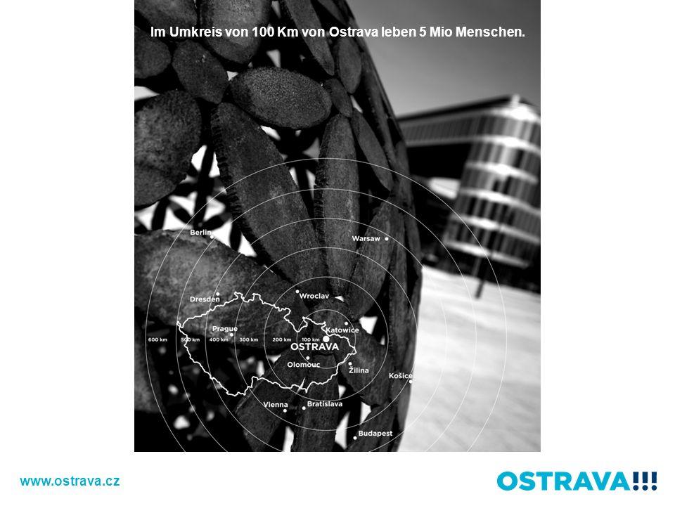 V okruhu 100 km od Ostravy žije 5 milionů lidí. Im Umkreis von 100 Km von Ostrava leben 5 Mio Menschen. www.ostrava.cz