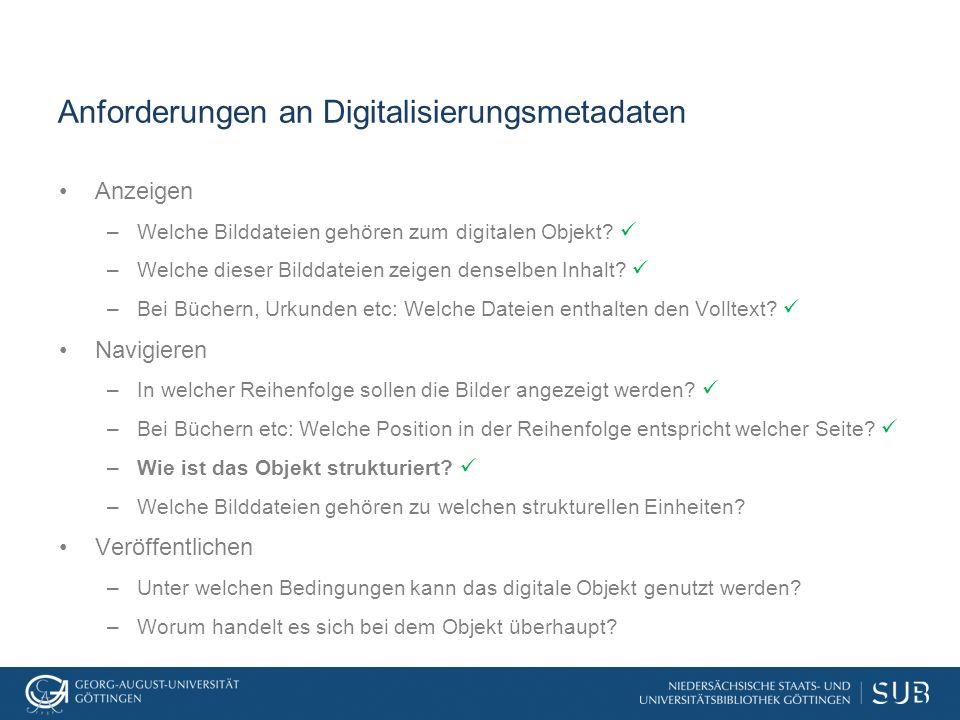 Anforderungen an Digitalisierungsmetadaten Anzeigen –Welche Bilddateien gehören zum digitalen Objekt? –Welche dieser Bilddateien zeigen denselben Inha