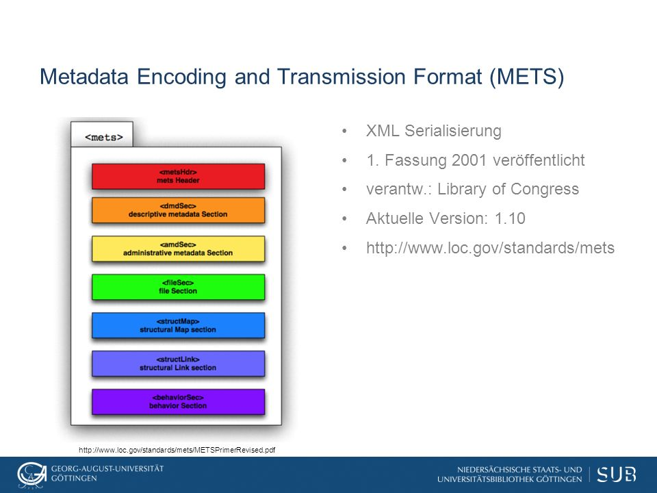 Metadata Encoding and Transmission Format (METS) XML Serialisierung 1.