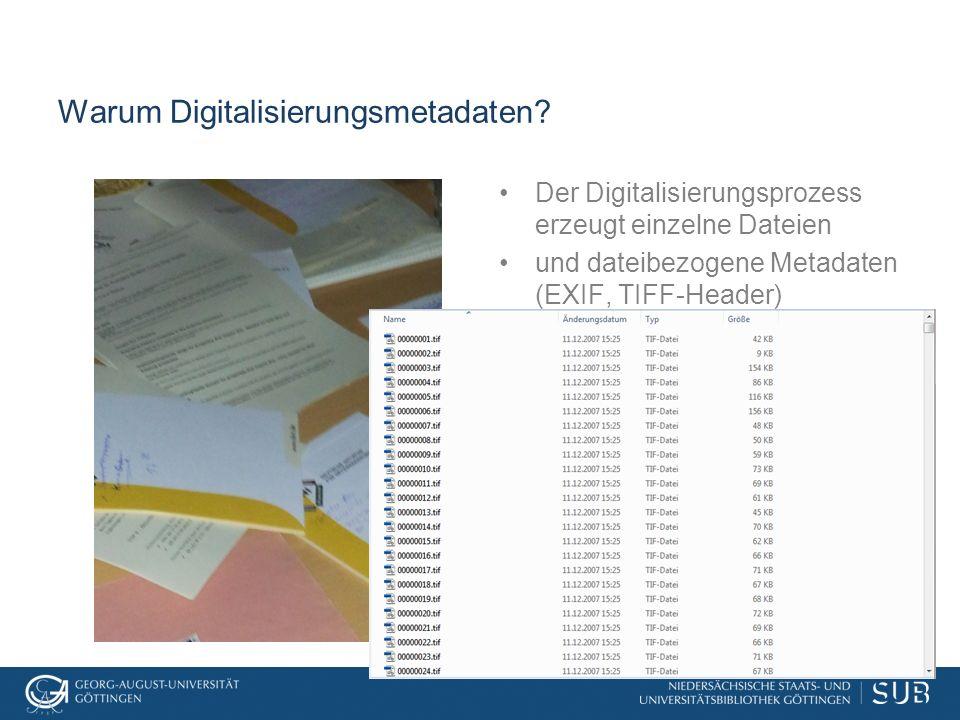 Warum Digitalisierungsmetadaten? Der Digitalisierungsprozess erzeugt einzelne Dateien und dateibezogene Metadaten (EXIF, TIFF-Header)