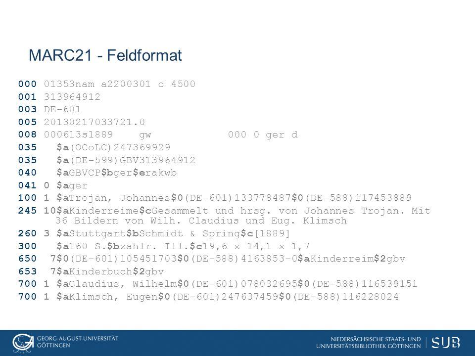 MARC21 - Feldformat 000 01353nam a2200301 c 4500 001 313964912 003 DE-601 005 20130217033721.0 008 000613s1889 gw 000 0 ger d 035 $a(OCoLC)247369929 0