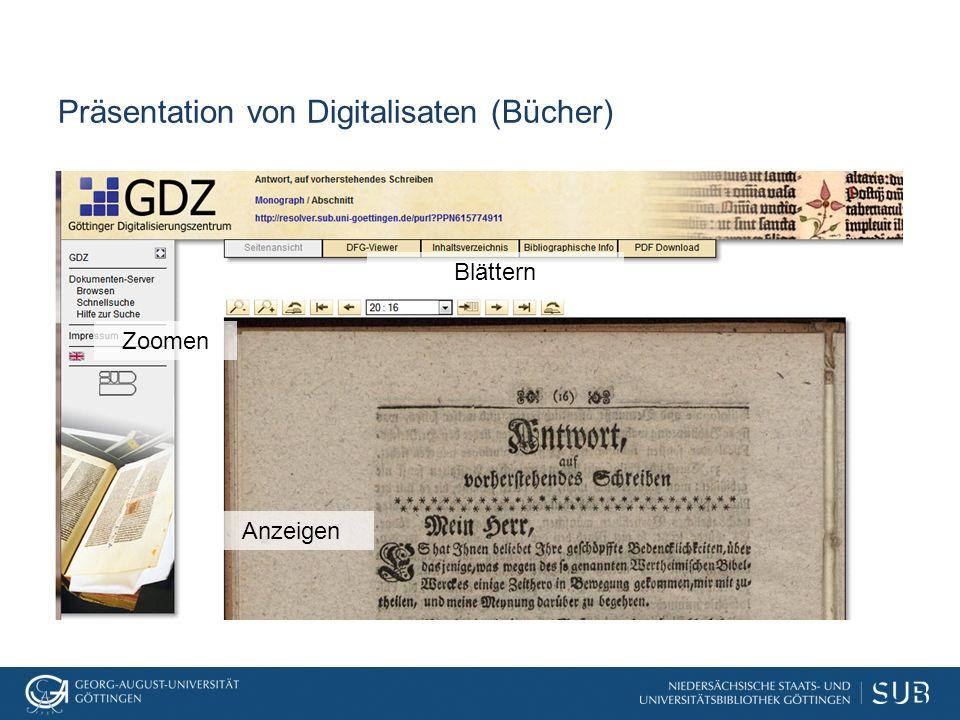 Präsentation von Digitalisaten (Bücher) Blättern Zoomen Anzeigen
