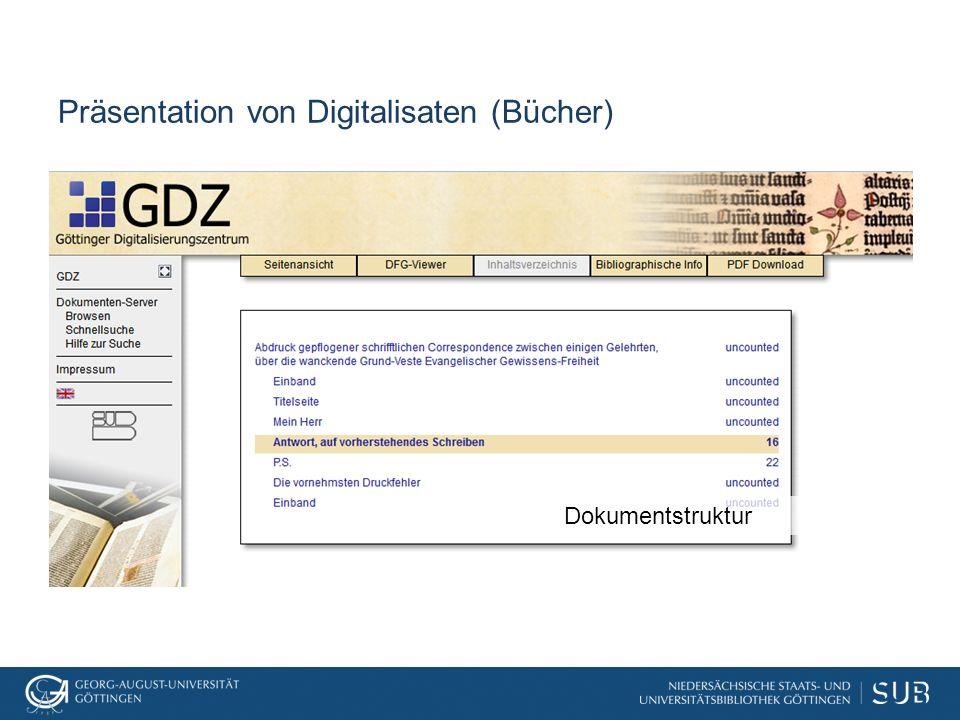 Präsentation von Digitalisaten (Bücher) Dokumentstruktur