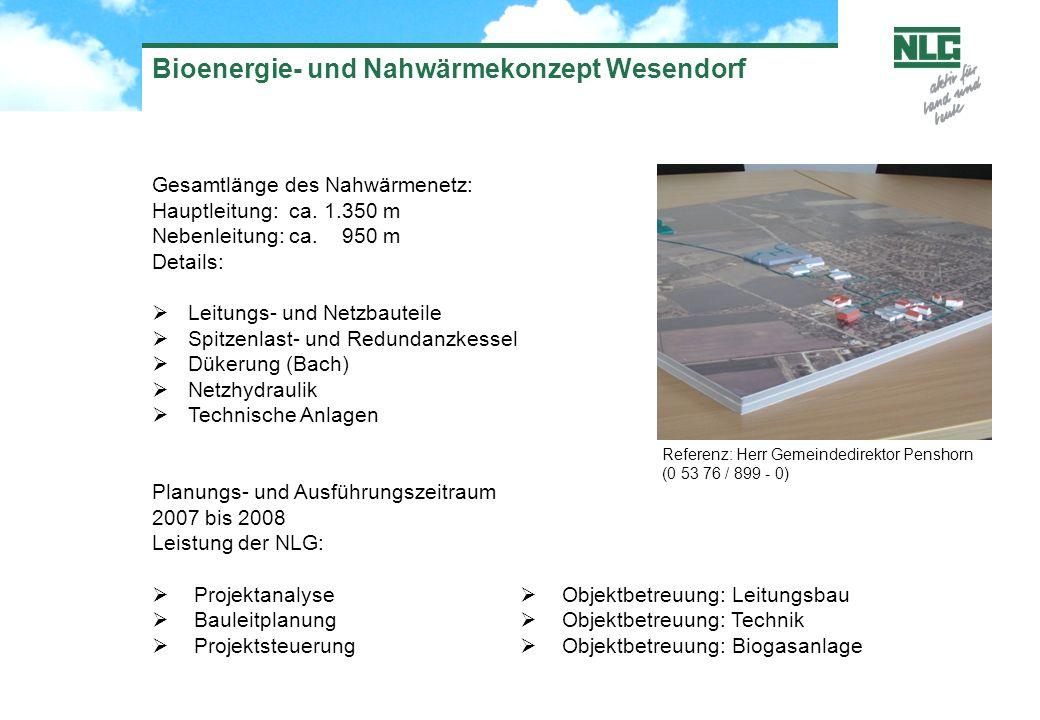 Gesamtlänge des Nahwärmenetz: Hauptleitung: ca. 1.350 m Nebenleitung: ca. 950 m Details: Leitungs- und Netzbauteile Spitzenlast- und Redundanzkessel D