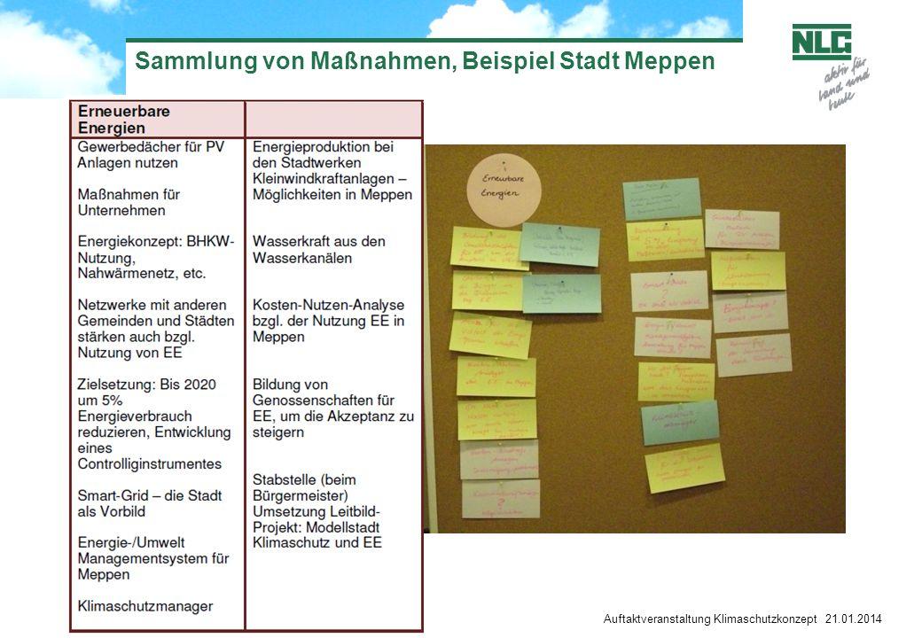 Sammlung von Maßnahmen, Beispiel Stadt Meppen Auftaktveranstaltung Klimaschutzkonzept 21.01.2014