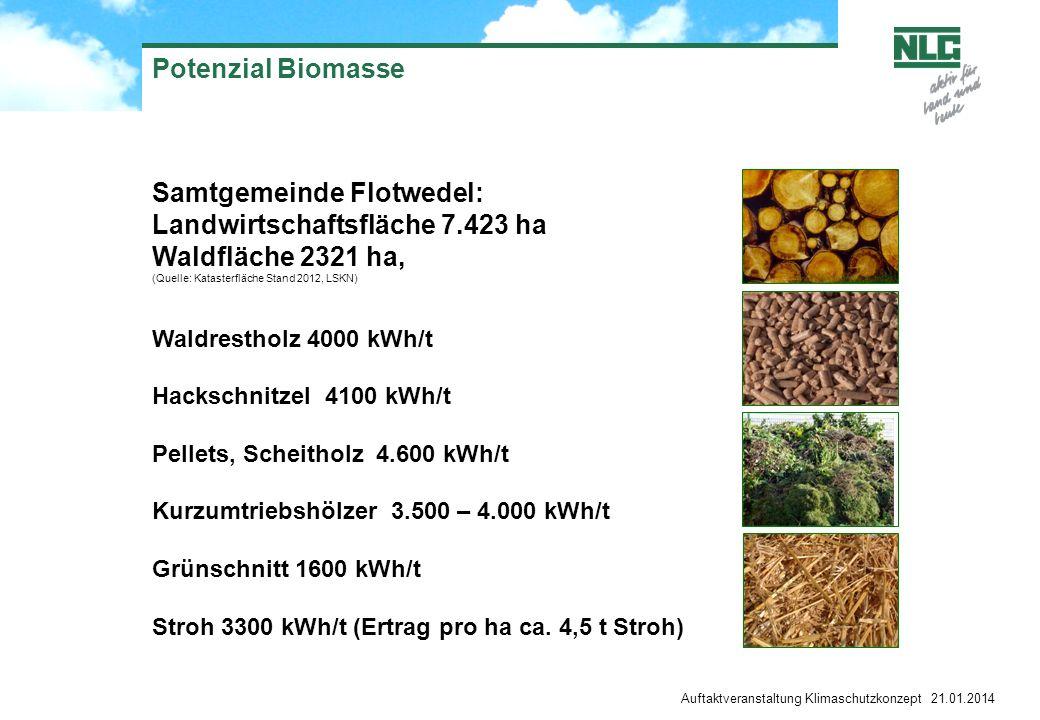 Potenzial Biomasse Auftaktveranstaltung Klimaschutzkonzept 21.01.2014 Samtgemeinde Flotwedel: Landwirtschaftsfläche 7.423 ha Waldfläche 2321 ha, (Quel