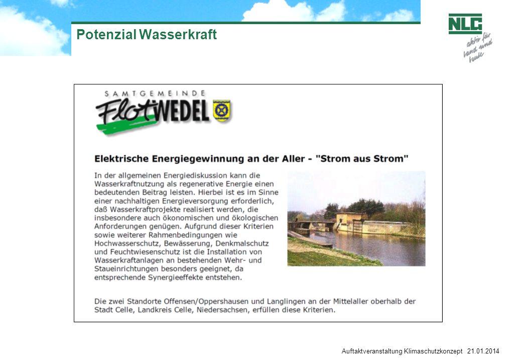 Potenzial Wasserkraft Auftaktveranstaltung Klimaschutzkonzept 21.01.2014