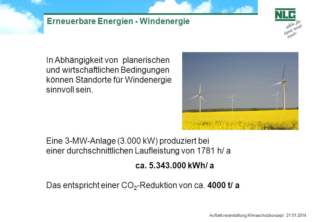 Erneuerbare Energien - Windenergie In Abhängigkeit von planerischen und wirtschaftlichen Bedingungen können Standorte für Windenergie sinnvoll sein. E