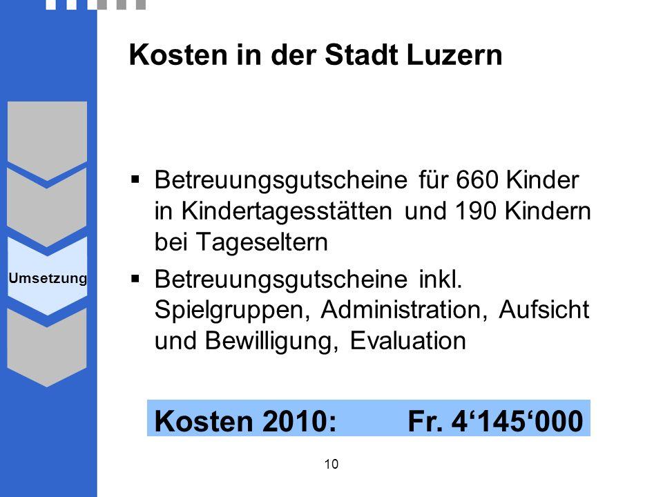 10 Kosten in der Stadt Luzern Betreuungsgutscheine für 660 Kinder in Kindertagesstätten und 190 Kindern bei Tageseltern Betreuungsgutscheine inkl.