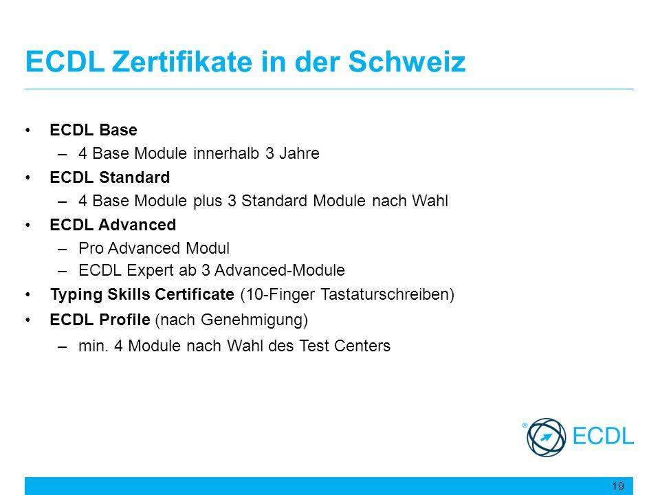ECDL Zertifikate in der Schweiz ECDL Base –4 Base Module innerhalb 3 Jahre ECDL Standard –4 Base Module plus 3 Standard Module nach Wahl ECDL Advanced