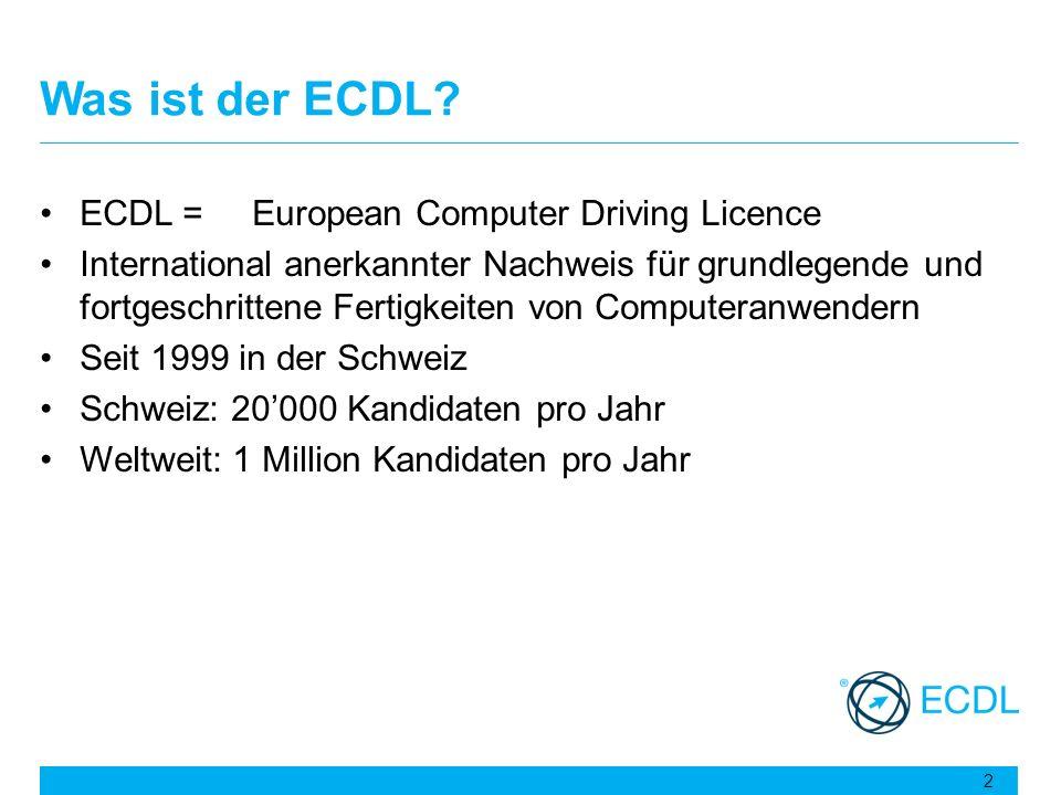 Was ist der ECDL? ECDL =European Computer Driving Licence International anerkannter Nachweis für grundlegende und fortgeschrittene Fertigkeiten von Co
