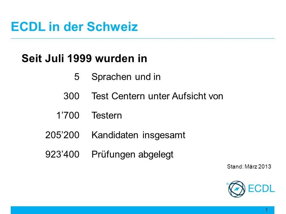 ECDL in der Schweiz Seit Juli 1999 wurden in 5Sprachen und in 300Test Centern unter Aufsicht von 1700Testern 205200Kandidaten insgesamt 923400Prüfunge