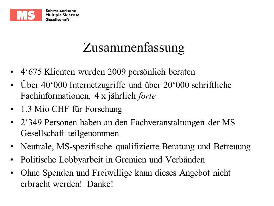 Schweizerische Multiple Sklerose Gesellschaft Zusammenfassung 4675 Klienten wurden 2009 persönlich beraten Über 40000 Internetzugriffe und über 20000