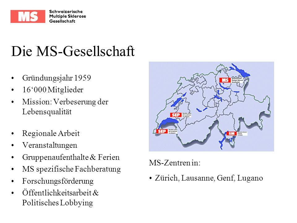 Schweizerische Multiple Sklerose Gesellschaft Die MS-Gesellschaft Gründungsjahr 1959 16000 Mitglieder Mission: Verbeserung der Lebensqualität Regional