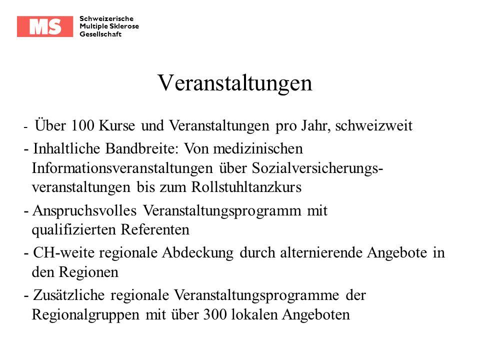 Schweizerische Multiple Sklerose Gesellschaft Veranstaltungen - Über 100 Kurse und Veranstaltungen pro Jahr, schweizweit - Inhaltliche Bandbreite: Von