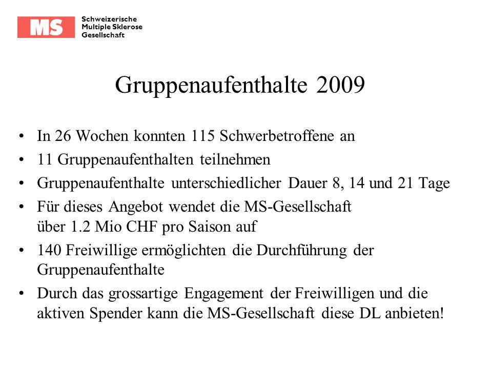 Schweizerische Multiple Sklerose Gesellschaft Gruppenaufenthalte 2009 In 26 Wochen konnten 115 Schwerbetroffene an 11 Gruppenaufenthalten teilnehmen G