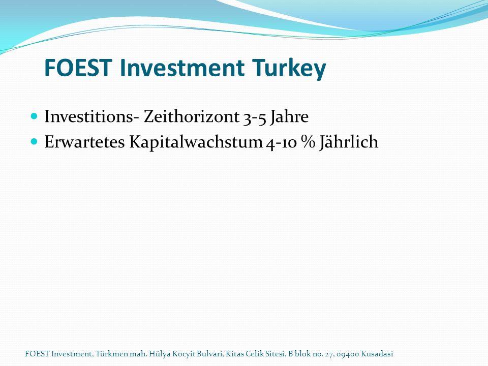 Investitions- Zeithorizont 3-5 Jahre Erwartetes Kapitalwachstum 4-10 % Jährlich FOEST Investment Turkey FOEST Investment, Türkmen mah. Hülya Kocyit Bu