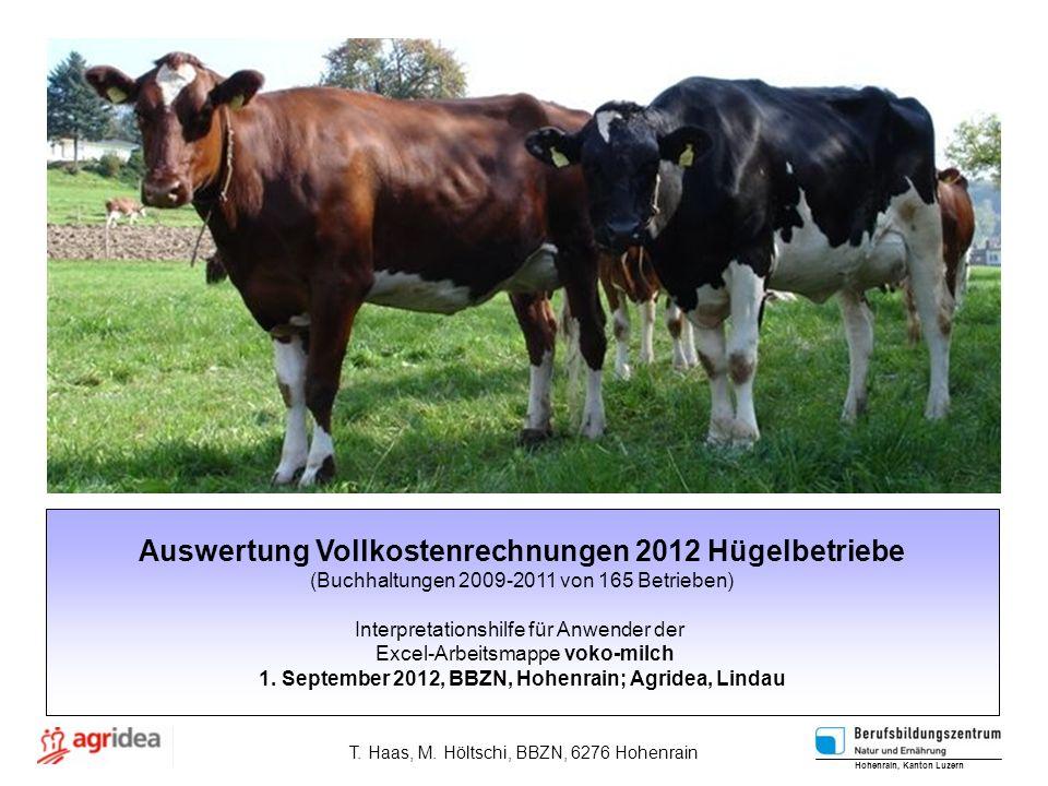 Auswertung Vollkostenrechnungen 2012 Hügelbetriebe (Buchhaltungen 2009-2011 von 165 Betrieben) Interpretationshilfe für Anwender der Excel-Arbeitsmappe voko-milch 1.