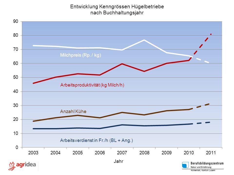 Entwicklung Kenngrössen Hügelbetriebe nach Buchhaltungsjahr Hohenrain, Kanton Luzern Jahr
