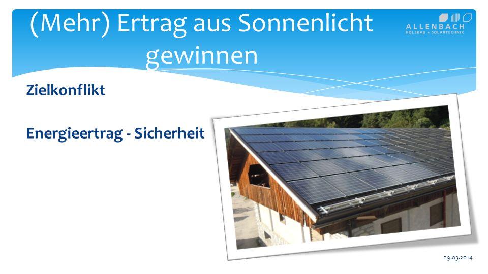 14 (Mehr) Ertrag aus Sonnenlicht gewinnen 29.03.2014 Zielkonflikt Energieertrag - Sicherheit