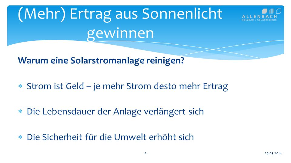 13 (Mehr) Ertrag aus Sonnenlicht gewinnen 29.03.2014 Spezialfall Schnee