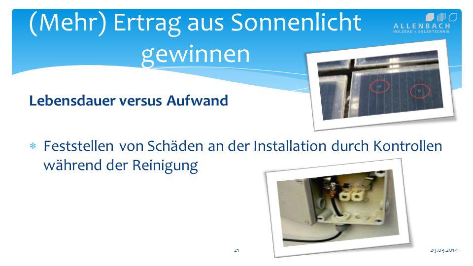 Lebensdauer versus Aufwand Feststellen von Schäden an der Installation durch Kontrollen während der Reinigung 21 (Mehr) Ertrag aus Sonnenlicht gewinnen 29.03.2014