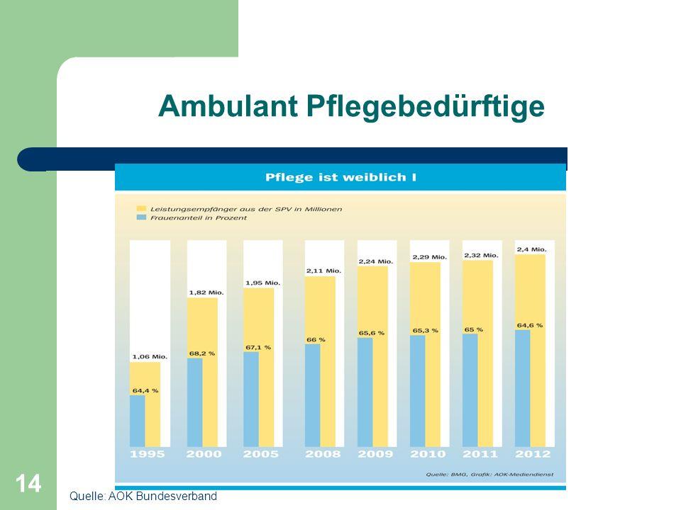 14 Ambulant Pflegebedürftige Quelle: AOK Bundesverband