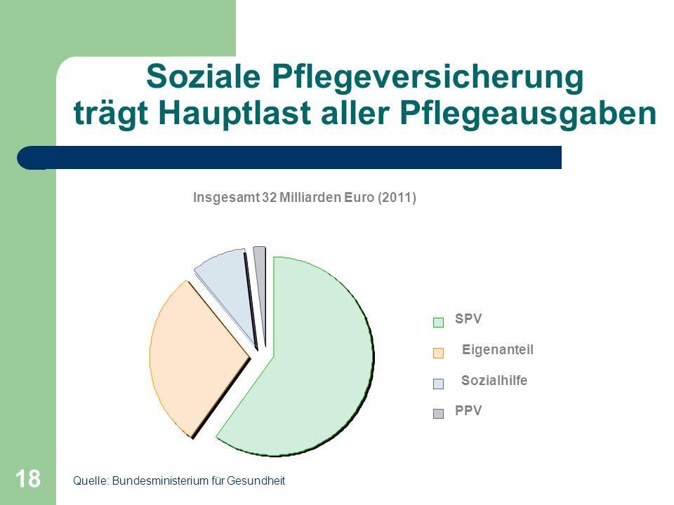 Soziale Pflegeversicherung trägt Hauptlast aller Pflegeausgaben 18 Insgesamt 32 Milliarden Euro (2011) SPV Eigenanteil Sozialhilfe PPV Quelle: Bundesm