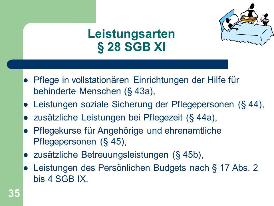 Leistungsarten § 28 SGB XI Pflege in vollstationären Einrichtungen der Hilfe für behinderte Menschen (§ 43a), Leistungen soziale Sicherung der Pflegep