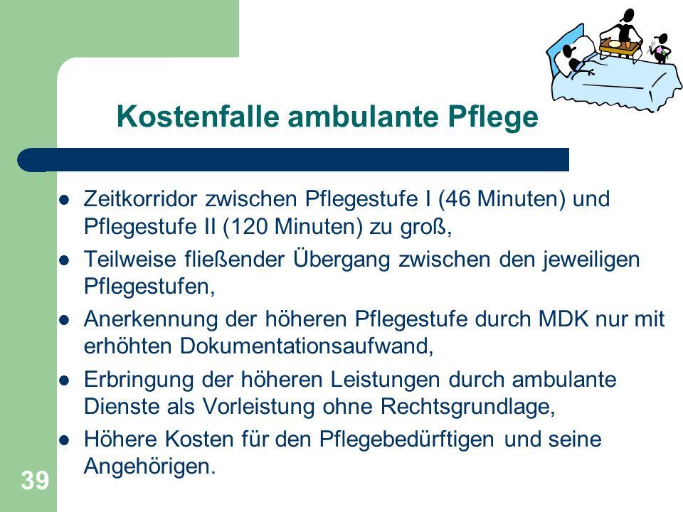 Kostenfalle ambulante Pflege Zeitkorridor zwischen Pflegestufe I (46 Minuten) und Pflegestufe II (120 Minuten) zu groß, Teilweise fließender Übergang