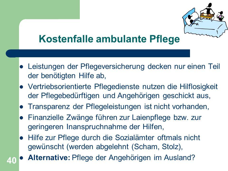 Kostenfalle ambulante Pflege Leistungen der Pflegeversicherung decken nur einen Teil der benötigten Hilfe ab, Vertriebsorientierte Pflegedienste nutze