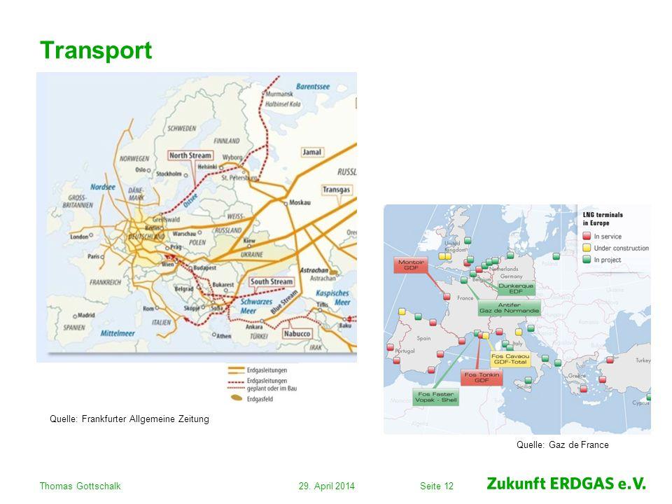 Seite 1229. April 2014Thomas Gottschalk Transport Quelle: Gaz de France Quelle: Frankfurter Allgemeine Zeitung