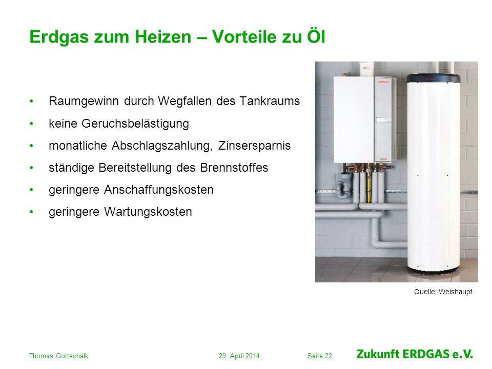 Seite 22 Erdgas zum Heizen – Vorteile zu Öl Raumgewinn durch Wegfallen des Tankraums keine Geruchsbelästigung monatliche Abschlagszahlung, Zinsersparn