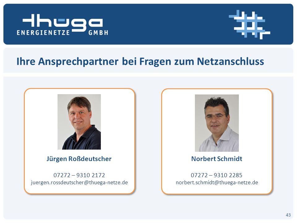 Ihre Ansprechpartner bei Fragen zum Netzanschluss Jürgen Roßdeutscher 07272 – 9310 2172 juergen.rossdeutscher@thuega-netze.de Jürgen Roßdeutscher 0727