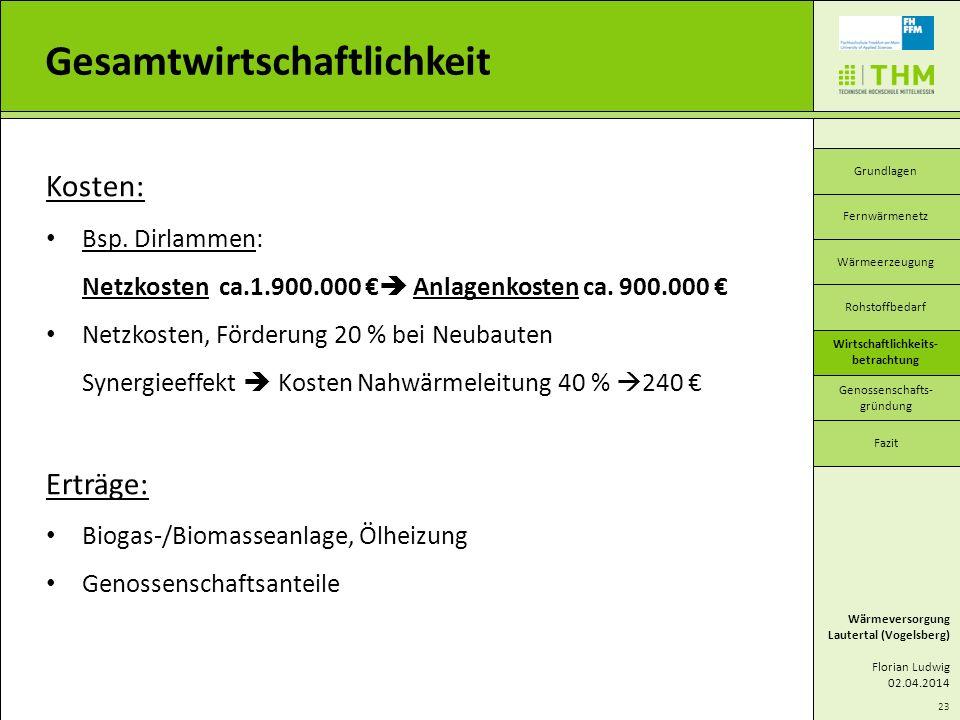 23 Gesamtwirtschaftlichkeit Wärmeversorgung Lautertal (Vogelsberg) Florian Ludwig 02.04.2014 Grundlagen Wärmeerzeugung Wirtschaftlichkeits- betrachtun