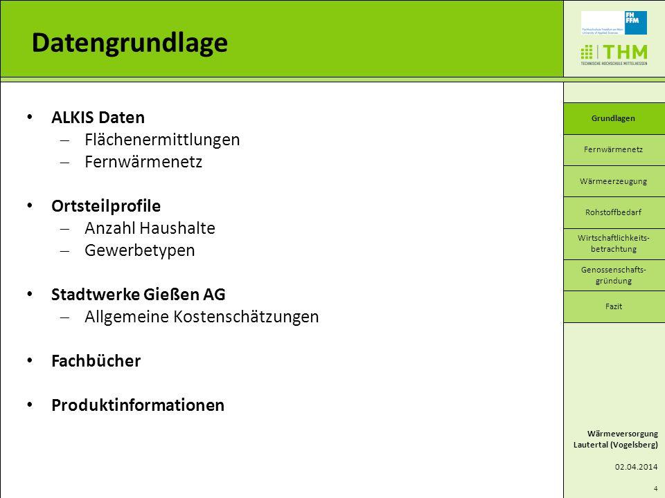 4 ALKIS Daten Flächenermittlungen Fernwärmenetz Ortsteilprofile Anzahl Haushalte Gewerbetypen Stadtwerke Gießen AG Allgemeine Kostenschätzungen Fachbü