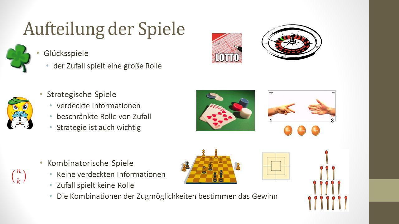 Aufteilung der Spiele Glücksspiele der Zufall spielt eine große Rolle Strategische Spiele verdeckte Informationen beschränkte Rolle von Zufall Strateg