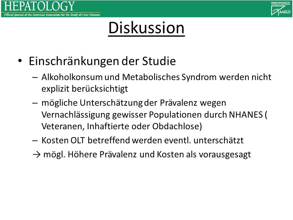 Diskussion Einschränkungen der Studie – Alkoholkonsum und Metabolisches Syndrom werden nicht explizit berücksichtigt – mögliche Unterschätzung der Prä