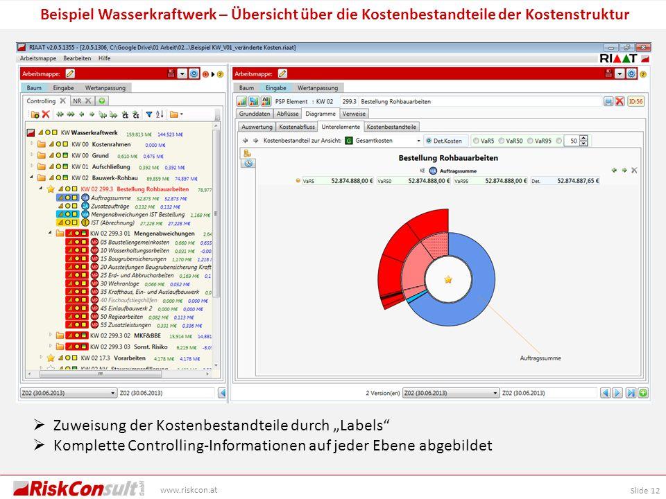 Slide 12 www.riskcon.at Beispiel Wasserkraftwerk – Übersicht über die Kostenbestandteile der Kostenstruktur Zuweisung der Kostenbestandteile durch Lab