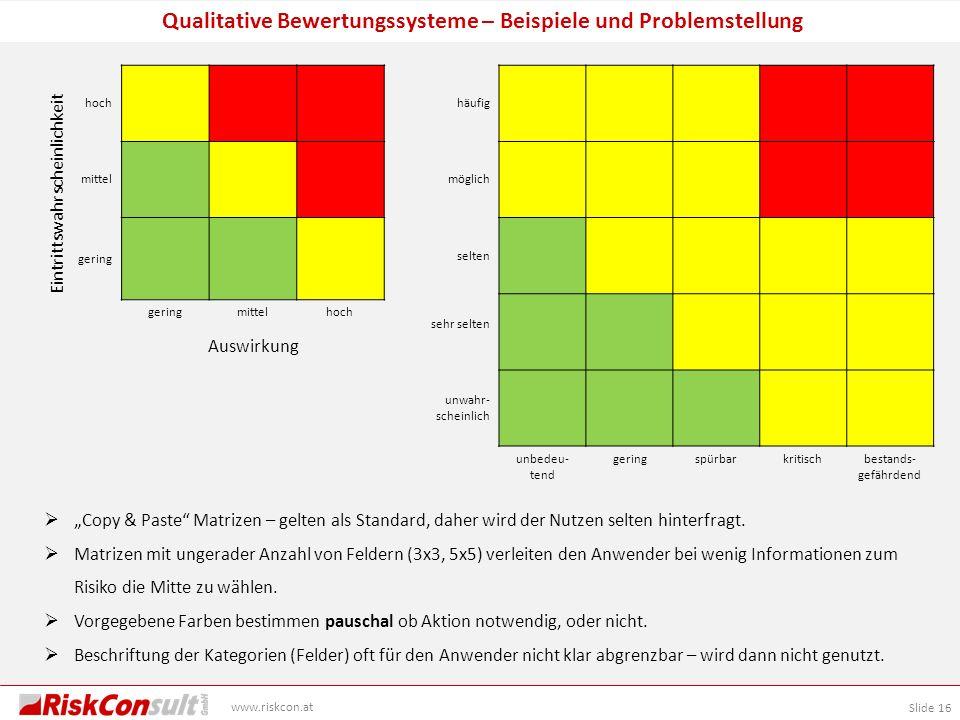 Slide 16 www.riskcon.at Qualitative Bewertungssysteme – Beispiele und Problemstellung hoch mittel gering mittelhoch häufig möglich selten sehr selten