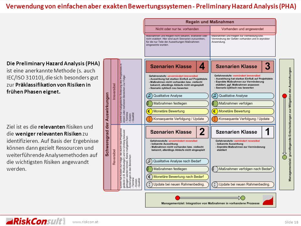 Slide 18 www.riskcon.at Verwendung von einfachen aber exakten Bewertungssystemen - Preliminary Hazard Analysis (PHA) Die Preliminary Hazard Analysis (