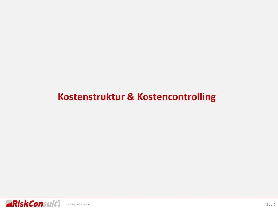 Slide 8 www.riskcon.at Kostenbestandteile nach ÖGG Richtlinie Kostenermittlung Planungsphase Vorausvalorisierung (V) Prognostizierte Teuerung über die Projektlaufzeit Risiken (R) Reserven zur Deckung sich realisierender Risiken Basiskosten (B) Projektkosten ohne Risiken zu einer festen Preisbasis Gesamtkosten (BGRV)