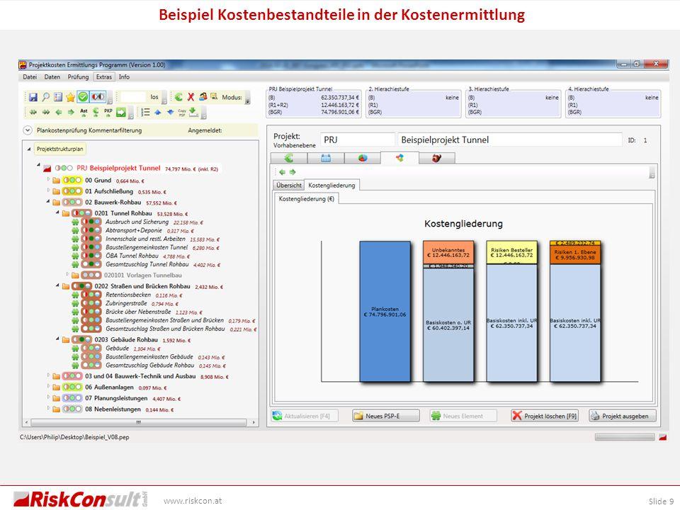 Slide 9 www.riskcon.at Beispiel Kostenbestandteile in der Kostenermittlung
