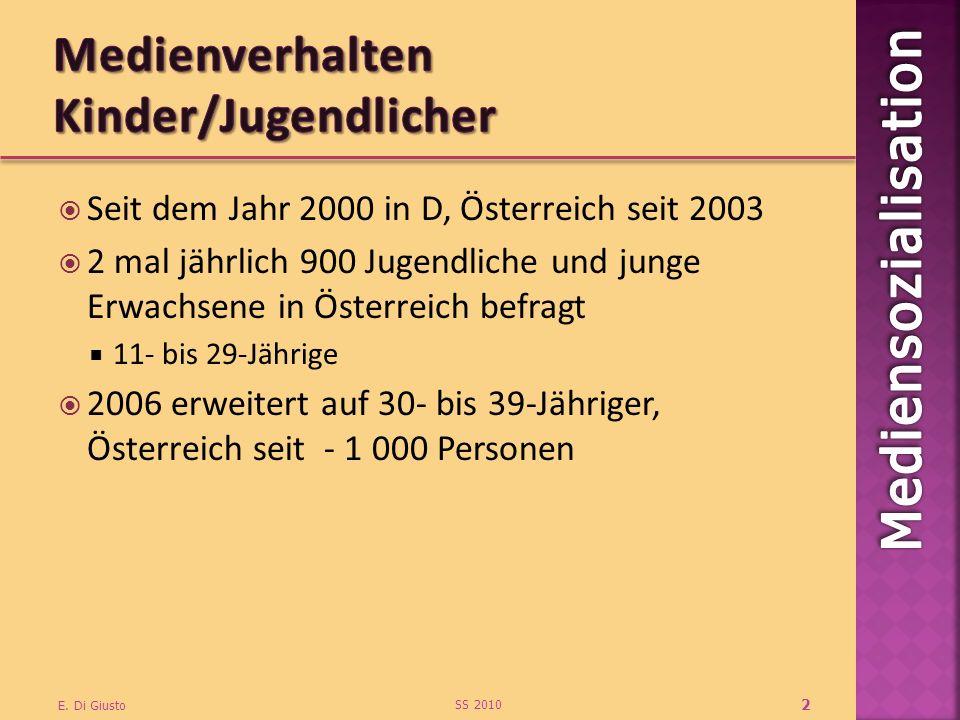 Seit dem Jahr 2000 in D, Österreich seit 2003 2 mal jährlich 900 Jugendliche und junge Erwachsene in Österreich befragt 11- bis 29-Jährige 2006 erweitert auf 30- bis 39-Jähriger, Österreich seit - 1 000 Personen SS 2010 E.