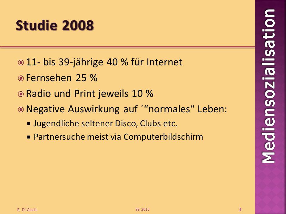 11- bis 39-jährige 40 % für Internet Fernsehen 25 % Radio und Print jeweils 10 % Negative Auswirkung auf ´normales Leben: Jugendliche seltener Disco, Clubs etc.