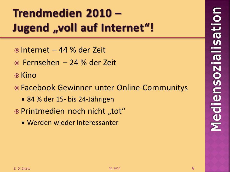 Internet – 44 % der Zeit Fernsehen – 24 % der Zeit Kino Facebook Gewinner unter Online-Communitys 84 % der 15- bis 24-Jährigen Printmedien noch nicht tot Werden wieder interessanter SS 2010 E.