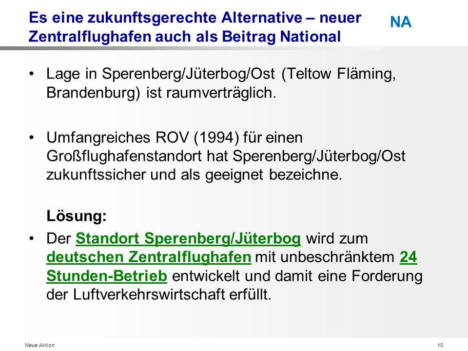 Neue Aktion10 NA Es eine zukunftsgerechte Alternative – neuer Zentralflughafen auch als Beitrag National Lage in Sperenberg/Jüterbog/Ost (Teltow Fläming, Brandenburg) ist raumverträglich.