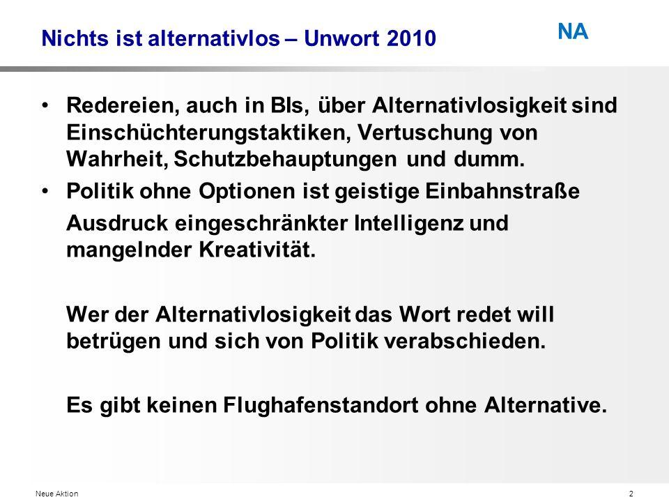 Neue Aktion2 NA Nichts ist alternativlos – Unwort 2010 Redereien, auch in BIs, über Alternativlosigkeit sind Einschüchterungstaktiken, Vertuschung von Wahrheit, Schutzbehauptungen und dumm.