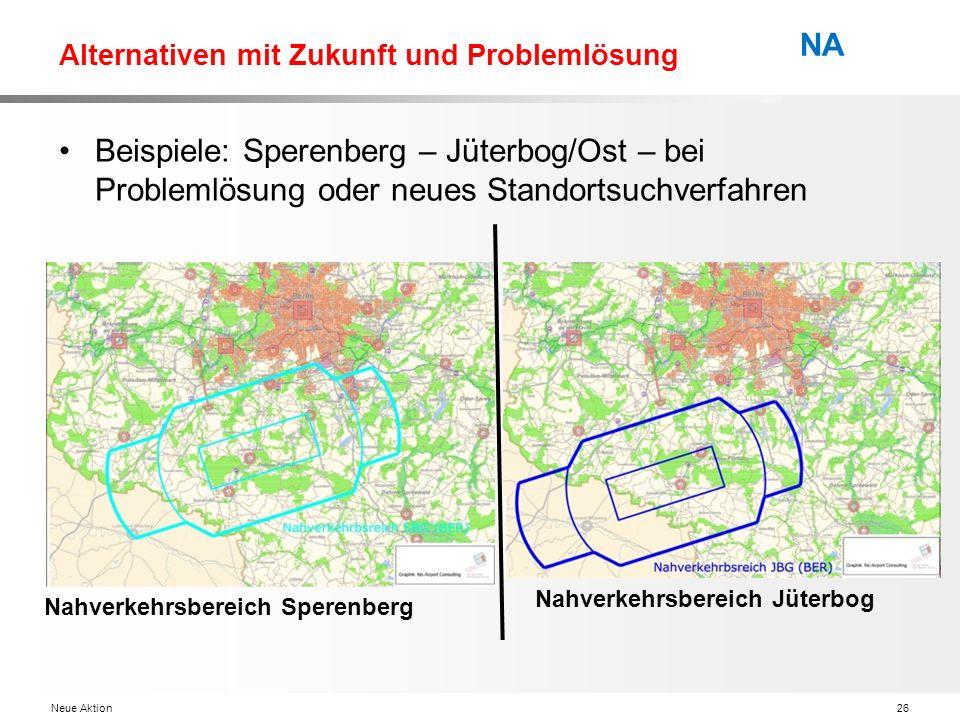 Neue Aktion26 NA Alternativen mit Zukunft und Problemlösung Beispiele: Sperenberg – Jüterbog/Ost – bei Problemlösung oder neues Standortsuchverfahren Nahverkehrsbereich Jüterbog Nahverkehrsbereich Sperenberg