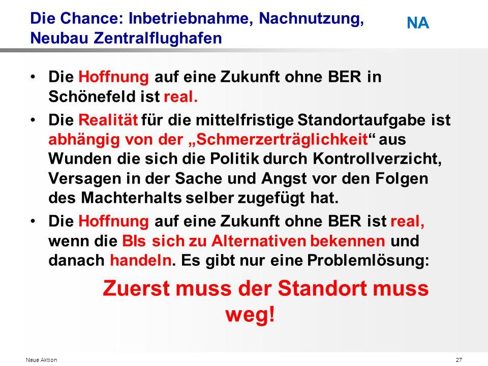 Neue Aktion27 NA Die Chance: Inbetriebnahme, Nachnutzung, Neubau Zentralflughafen Die Hoffnung auf eine Zukunft ohne BER in Schönefeld ist real.